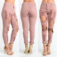 Pink Ripped Hole Low Waist Long Straight Jeans