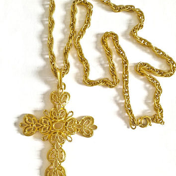 "Vintage Trifari Crown Gold Toned Large Cross Pendant on Double Link 27"" Chain, Circa 1970's Fashion Hollywood Glamour Pendant"