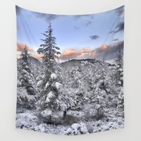 """Mountain light II"". Snowy forest at sunset Wall Tapestry by Guido Montañés"