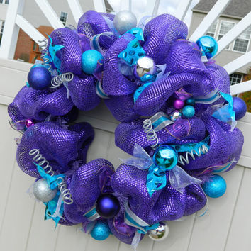 Purple Christmas Wreath - Metallic Purple Deco Mesh Wreath - Purple, Teal Silver Holiday Wreath / Birthday Wreath / Purple Christmas Decor