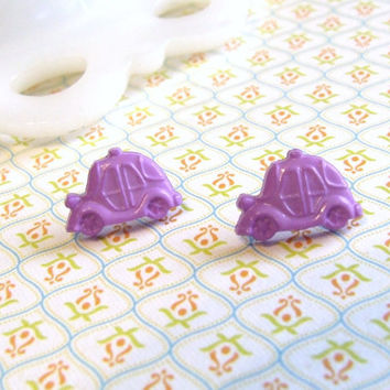Purple Car Stud Earrings - Clown Car Earrings - Perky Purple Car Post Earrings - Volkswagen VW Beetle Earrings - Hypoallergenic Nickel Free