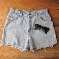 Vintage LEVIS jean shorts 90s Cut off DISTRESSED denim high waist shorts DESTROYED shorts Grunge Boho Womens Frayed Ripped Up Shorts
