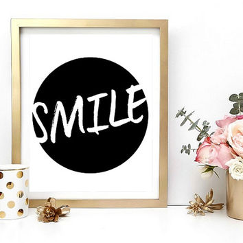 Typography Print, Smile, Printable Poster, Printables, Digital Wall Art, Home Decor, Instant Download, Digital Download