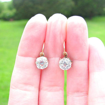 Antique Large Paste Earrings, Sparkling Old Cushion Cut Stones, Gold Filled, Charming Dangle Drop Earrings, Victorian Era