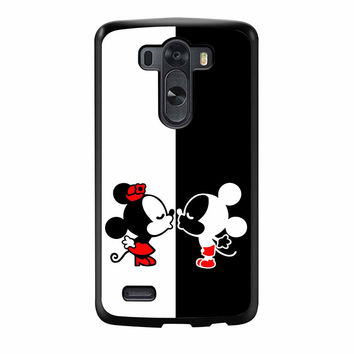Mickey And Minnie Mouse Kissing Black And White LG G3 Case