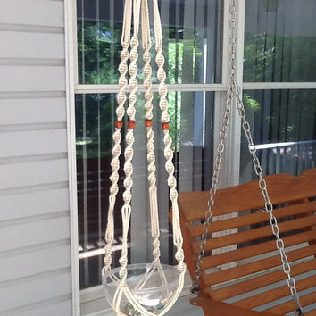 Macrame Plant Hanger,  4 mm Polyolefin cord, off white, ecru with small brown wooden beads, off white flower hanger, beaded flower hanger