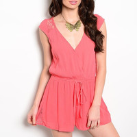 Laced Back Cinched Waist Sleeveless Romper in Coral