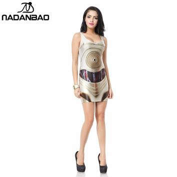 Star Wars Force Episode 1 2 3 4 5 NADANBAO Summer  Artoo New Print Women bandage dresses Women Sexy Sleeveless Bodycon dress Party Cub Clothing AT_72_6