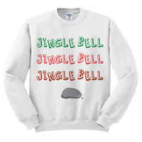White Crewneck Jingle Bell Rock Ugly Christmas Sweatshirt Sweater Jumper Pullover