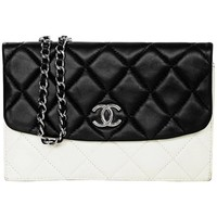 Chanel Black and White Quilted Double Flap Crossbody Bag