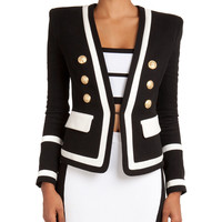 Nautical-Inspired Jacket with Golden Buttons, Cropped Grid-Pattern Knit Camisole & Colorblock Pull-On Slim Skirt