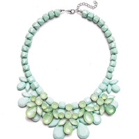 Fresh Bloom Necklace in Mint,Fashion Statement Women Bib Necklace,Gift for Her