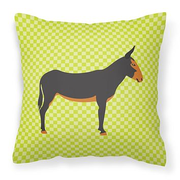 Catalan Donkey Green Fabric Decorative Pillow BB7681PW1818