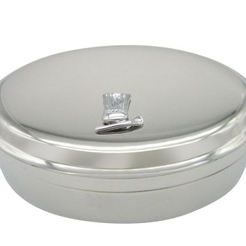 Silver Toned Chef Hat and Spoon Pendant Oval Trinket Jewelry Box