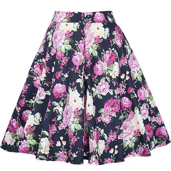 Streetstyle  Casual Delightful Floral Printed Flared Midi Skirt