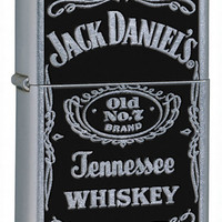Zippo Jack Daniel's Old No. 7 Label Street Chrome Lighter