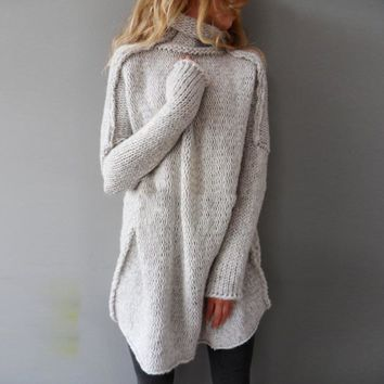 Women Knitted Sweater Loose Pullovers Vintage Turtleneck Long Sleeve Solid Rib