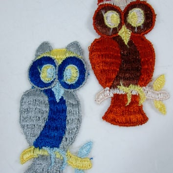 Vintage Embroidered Owl Sew On Patch Set of 2 Brown and Blue