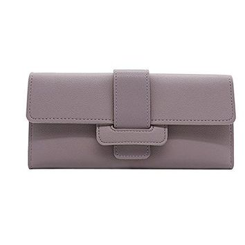 Womens Buckle Leather Vegan Wallet Bifold Multicard Slots Purse