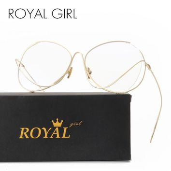 ROYAL GIRL New Unique Women Eyeglasses Oversize Rounded Metal