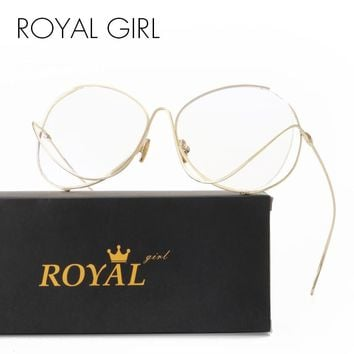 ROYAL GIRL New Unique Women Eyeglasses Oversize Rounded Metal Clear Glasses Frames SS632