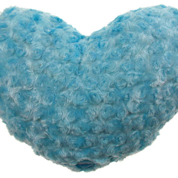 "Blue Heart Plush Throw Pillow Multi Color LED Light Up Flash 13"" Microbeads"