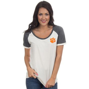 Clemson Vintage Tailgate Tee in White and Heathered Grey by Lauren James - FINAL SALE