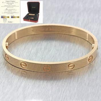 Unworn Cartier 18K Rose Gold Screw Love Bangle Bracelet Size 17 Box Papers