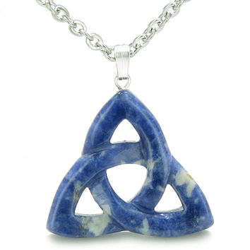 Celtic Triquetra Knot Magic Amulet Sodalite Good Luck Powers Pendant 18 Inch Necklace