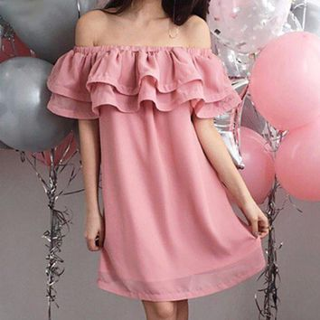 8DESS Chiffon ruffle short dress women Off shoulder sleeveless beach dress Lining elastic band sexy dress