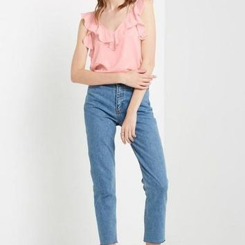 Romantic Ruffle V-Neck Top