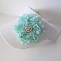Adorable White  Golf Sun Visor with a Shabby Chiffon Flower and Beautiful Rhinestone Accent Golf Visors Hats Caps Accessories