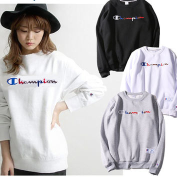 """Champion"" Women Letter Pattern Pullover Sweatshirt  Top Sweater"