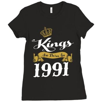 kings are born in 1991 Ladies Fitted T-Shirt
