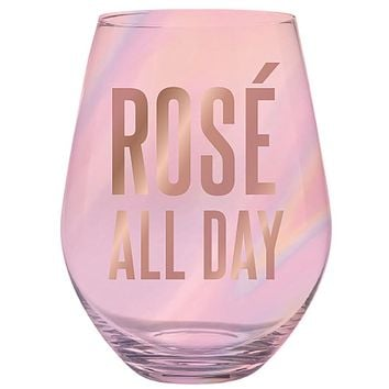 Rose All Day Huuuge Oversize Stemless Wine Glass in Transparent Pink