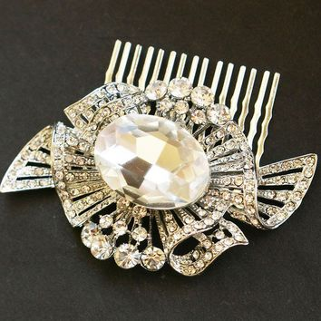 Rhinestone Hair Comb Vintage Bridal Comb Art Deco by luxedeluxe