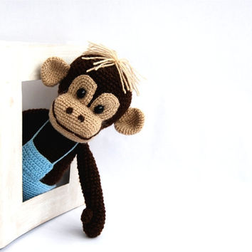 stuffed monkey, amigurumi crocheted animal, plushie toy for children, animal soft doll, dark brown, blue, jungle monkey