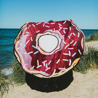 Fashion Chocolate Donuts Print Beach Towel Sunscreen Shawl Yoga Cushion