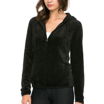 Women's Full Zip Fleece Hoodie Jacket Black