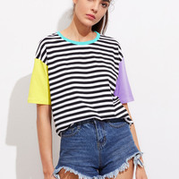 Contrast Neck And Sleeve Striped Tee -SheIn(Sheinside)
