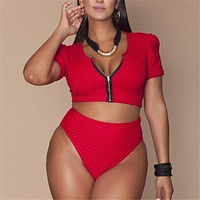 XL-4XL Plus Size Bikini Set Pad Zipper Front Swimsuit Large Swimwear 2019 High Waist Monokini Female Short Sleeve Bathing Suit