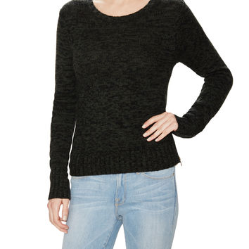 Autumn Cashmere Women's Tweed Sweater with Snakeskin Embossed Elbow Patches
