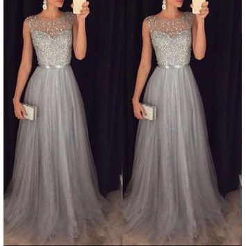 2018 New Style Sequin Women Gray Lace Long Dress Summer Sleeveless Party Evening Formal Wedding Ball Gown Maxi Formal Dresses