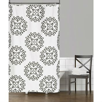 100% Cotton Fabric Shower Curtain with Damask Pattern