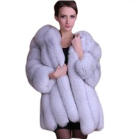SexeMara 2017 Autumn Winter New Long Thick Windproof Fuzzy Faux Fur Coat Jacket Outfit Top Good Quality Version Plus Size