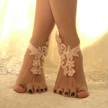 5 pairs bridesmaid gift Ivory or pink lace wedding barefoot sandals french lace sandals, wedding anklet, Beach wedding barefoot sandals,