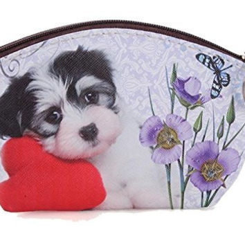 Black and White Puppy with Red Flower on Girls or Womens Coin Purse