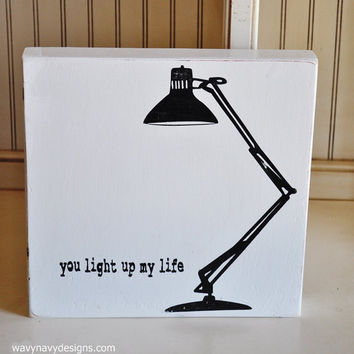 Wood Sign Typography Word Art  - You Light Up My Life- Hand Painted and Vintage Distressed