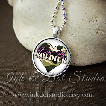 I Love My Soldier Necklace, Army Wife Necklace, Gift for Army Wife, Military Wife, Army, Navy, Marines, Camouflage Heart