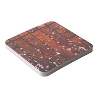 Cool Brown Wooden Ply texture With Wintry Snow Ice Square Paper Coaster